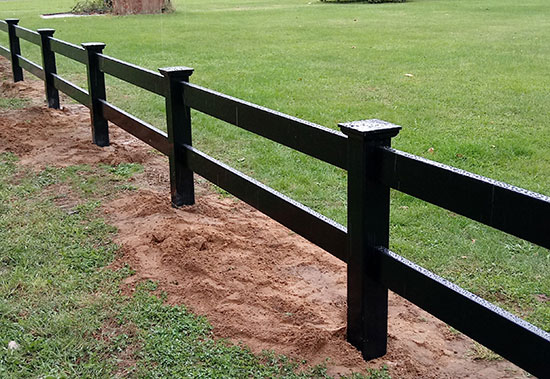 2, 3 and 4-Rail Ranch Horse Black Vinyl Fences
