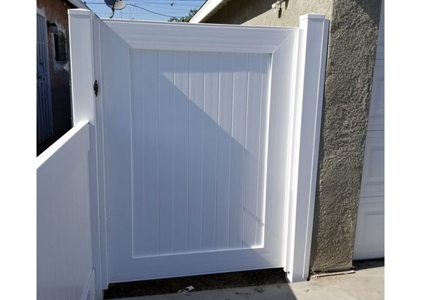 White Vinyl Privacy Gate Installation